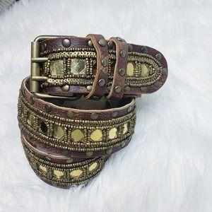 Betsey Johnson leather gold mirror beaded belt